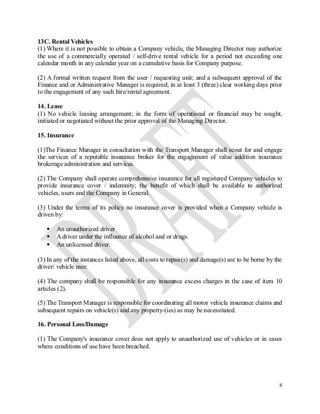 Model Company Car Contract Clause Carsjp