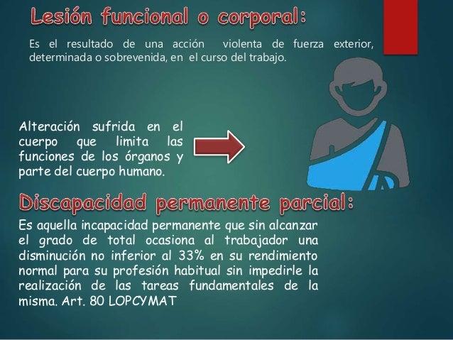 Es la situación del trabajador afecto de incapacidad permanente y que, por consecuencia de pérdidas anatómicas o funcional...