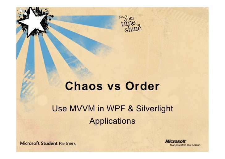 Chaos vs Order Use MVVM in WPF & Silverlight        Applications