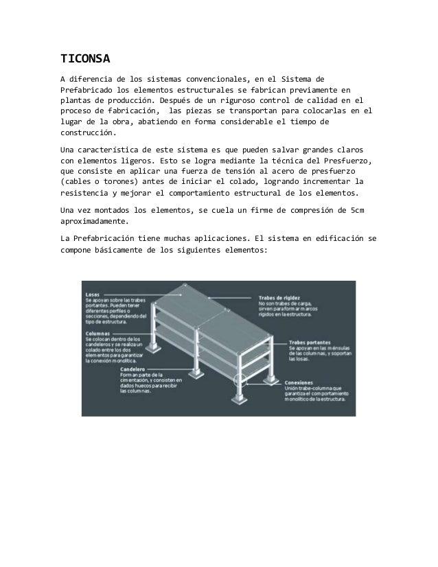 TICONSA A diferencia de los sistemas convencionales, en el Sistema de Prefabricado los elementos estructurales se fabrican...