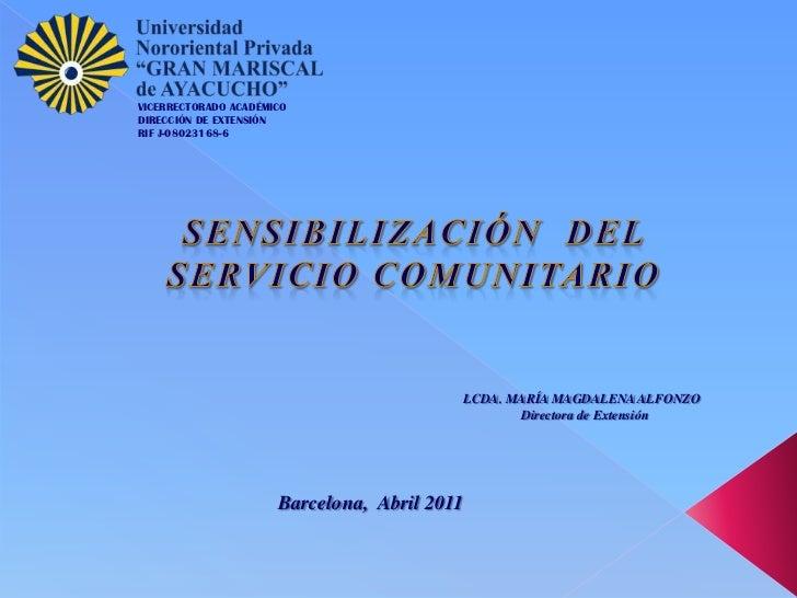 VICERRECTORADO ACADÉMICODIRECCIÓN DE EXTENSIÓNRIF J-08023168-6                                              LCDA. MARÍA MA...