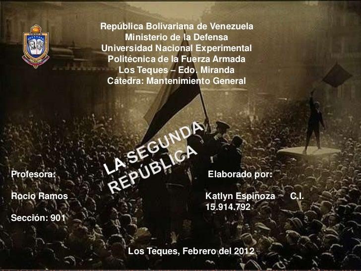 República Bolivariana de Venezuela                    Ministerio de la Defensa               Universidad Nacional Experime...