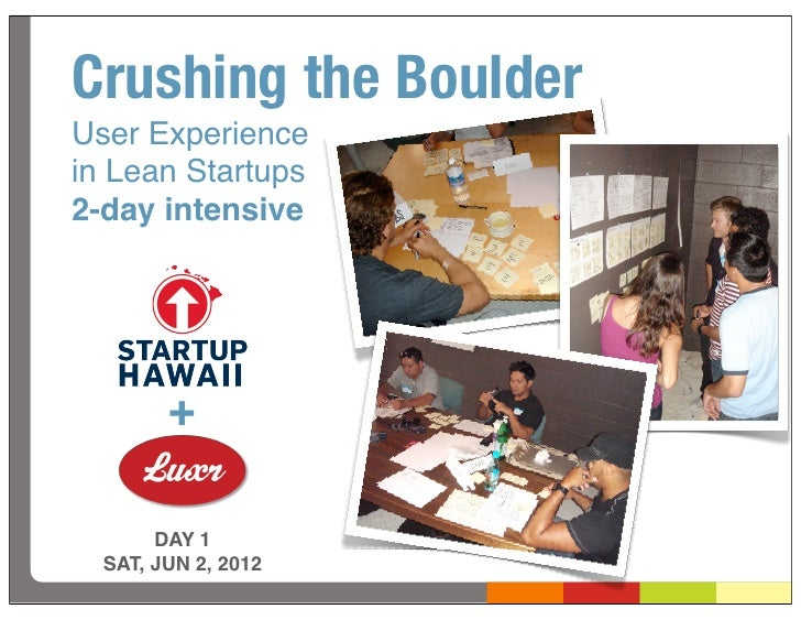 Crushing the BoulderUser Experiencein Lean Startups2-day intensive        +       DAY 1  SAT, JUN 2, 2012