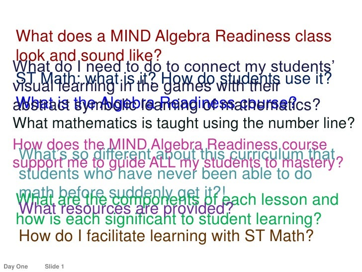 What does a MIND Algebra Readiness class look and sound like?<br />What do I need to do to connect my students'<br />visua...