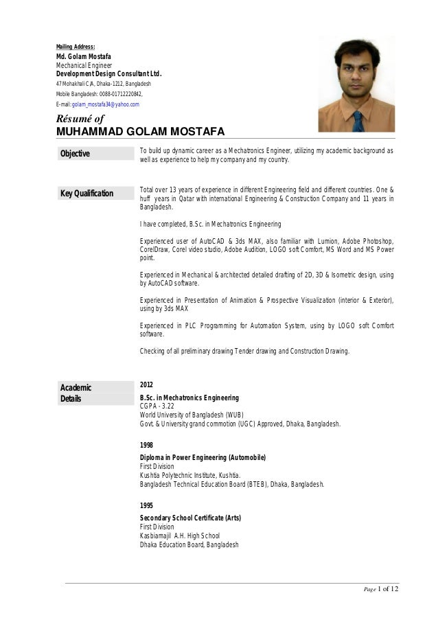Resume Of Mostafa Rev 9