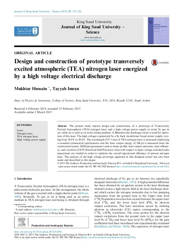 ORIGINAL ARTICLE Design and construction of prototype transversely excited atmospheric (TEA) nitrogen laser energized by a...