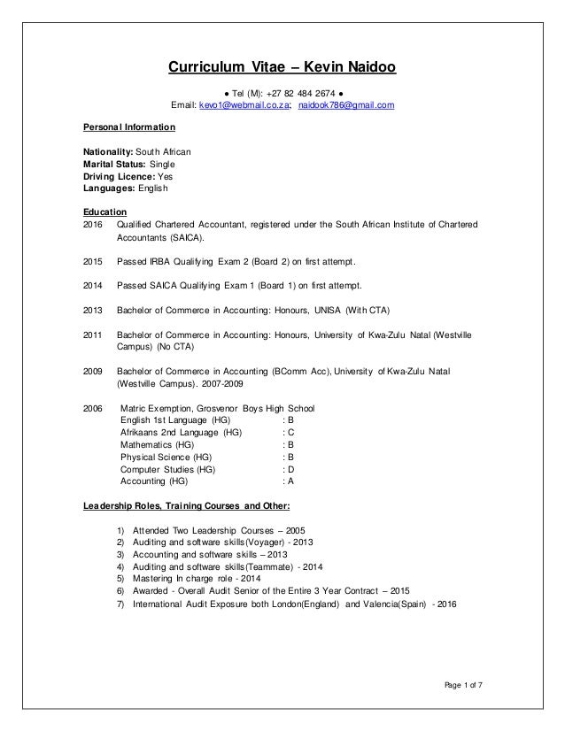 Kevin Naidoo - Curriculum Vitae