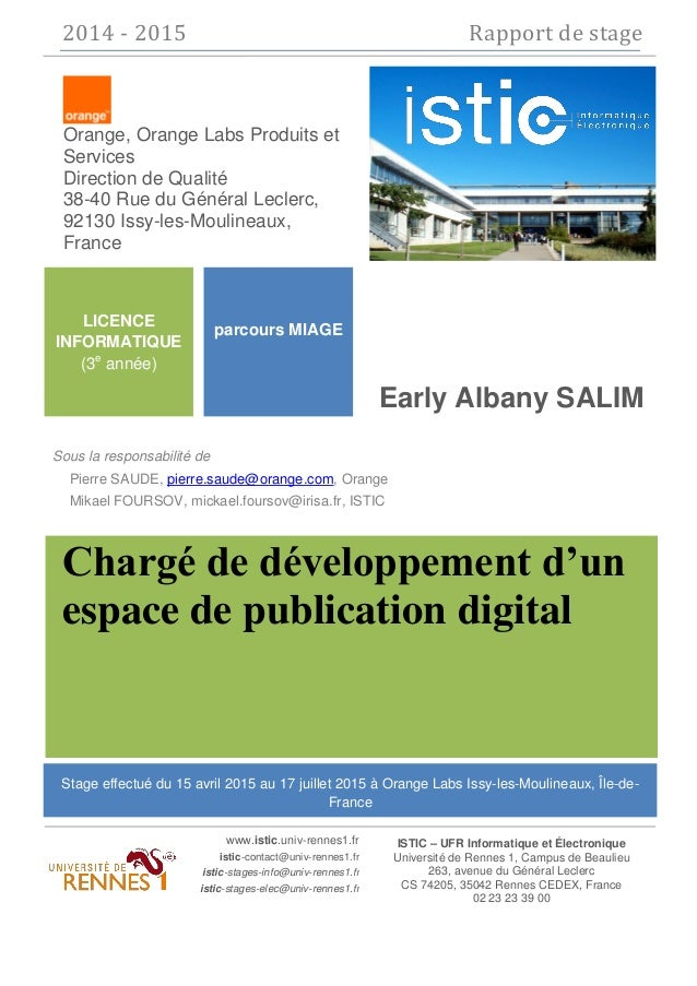 2014 - 2015 Rapport de stage ISTIC – UFR Informatique et Électronique Université de Rennes 1, Campus de Beaulieu 263, aven...