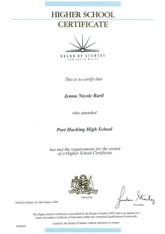 School Certificate - Port Hacking High School