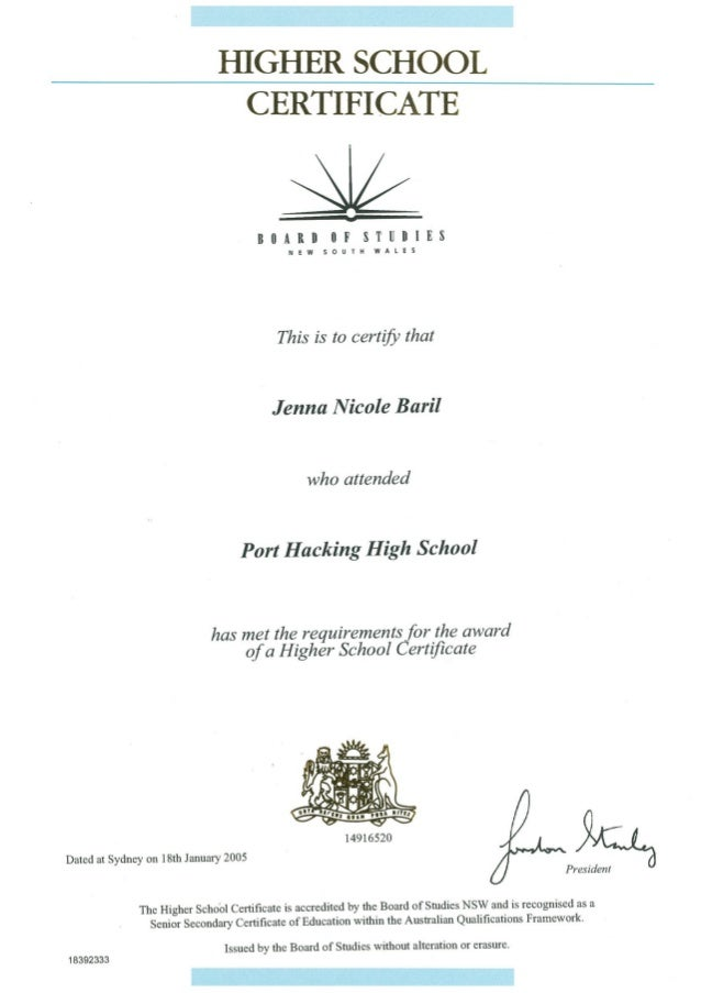 Higher School Certificate - Port Hacking High School