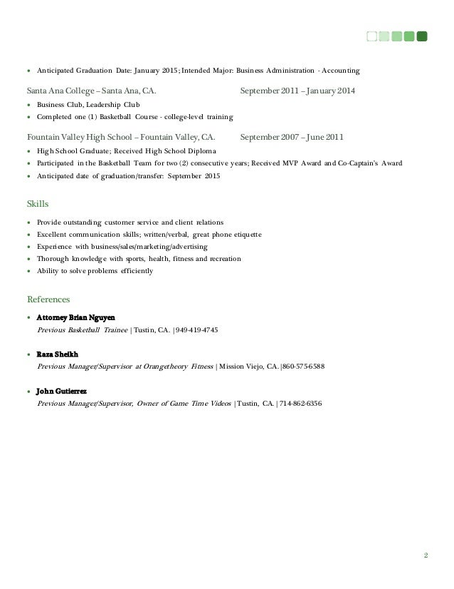 business major resumes