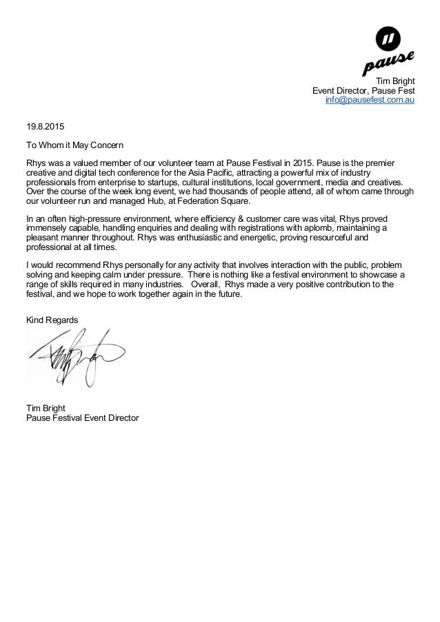 volunteer letter of recommendation pause festival recommendation letter for volunteers 25455