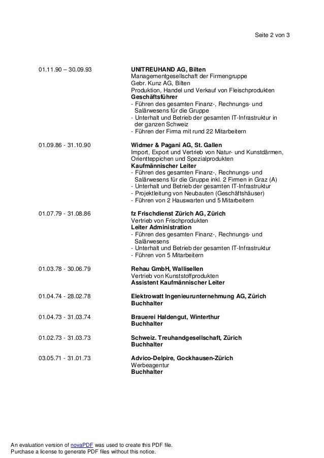 Seite 2 von 3 01.11.90 – 30.09.93 UNITREUHAND AG, Bilten Managementgesellschaft der Firmengruppe Gebr. Kunz AG, Bilten Pro...
