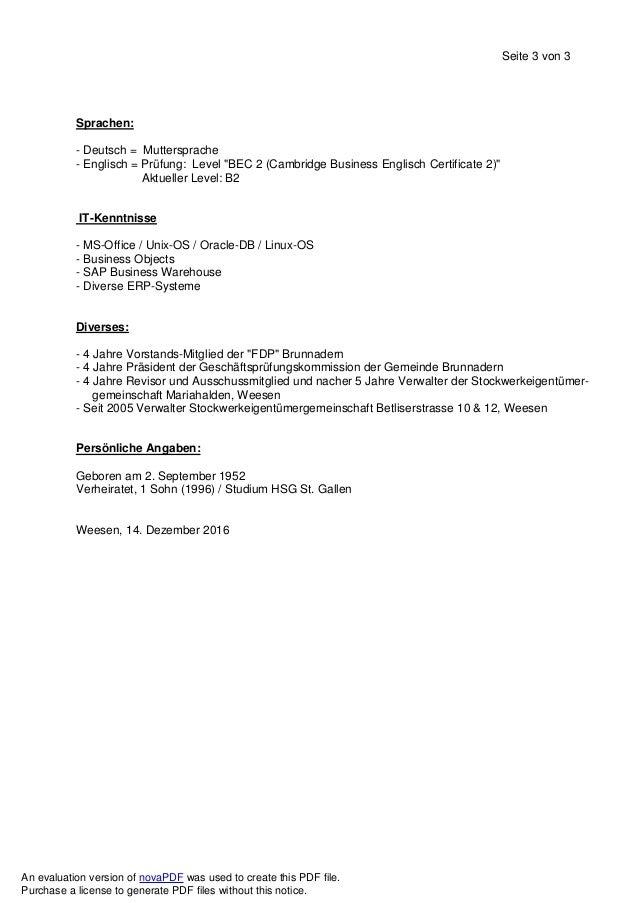 """Seite 3 von 3 Sprachen: - Deutsch = Muttersprache - Englisch = Prüfung: Level """"BEC 2 (Cambridge Business Englisch Certific..."""