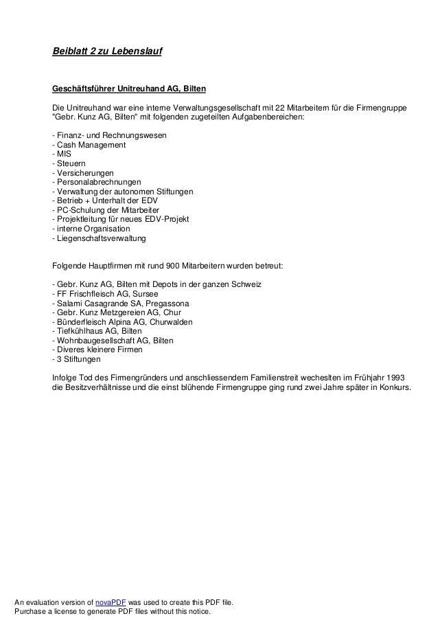 Beiblatt 2 zu Lebenslauf Geschäftsführer Unitreuhand AG, Bilten Die Unitreuhand war eine interne Verwaltungsgesellschaft m...