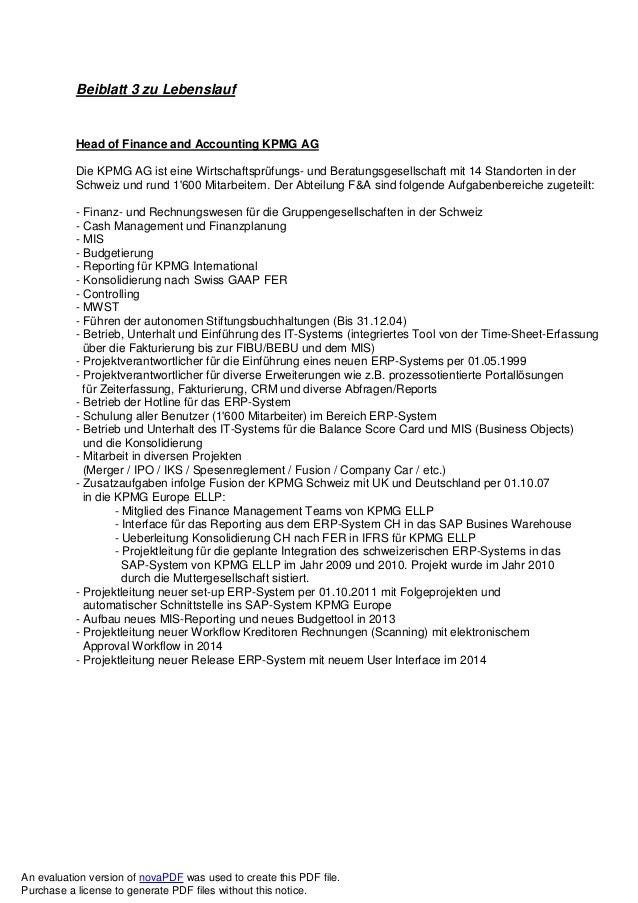 Beiblatt 3 zu Lebenslauf Head of Finance and Accounting KPMG AG Die KPMG AG ist eine Wirtschaftsprüfungs- und Beratungsges...