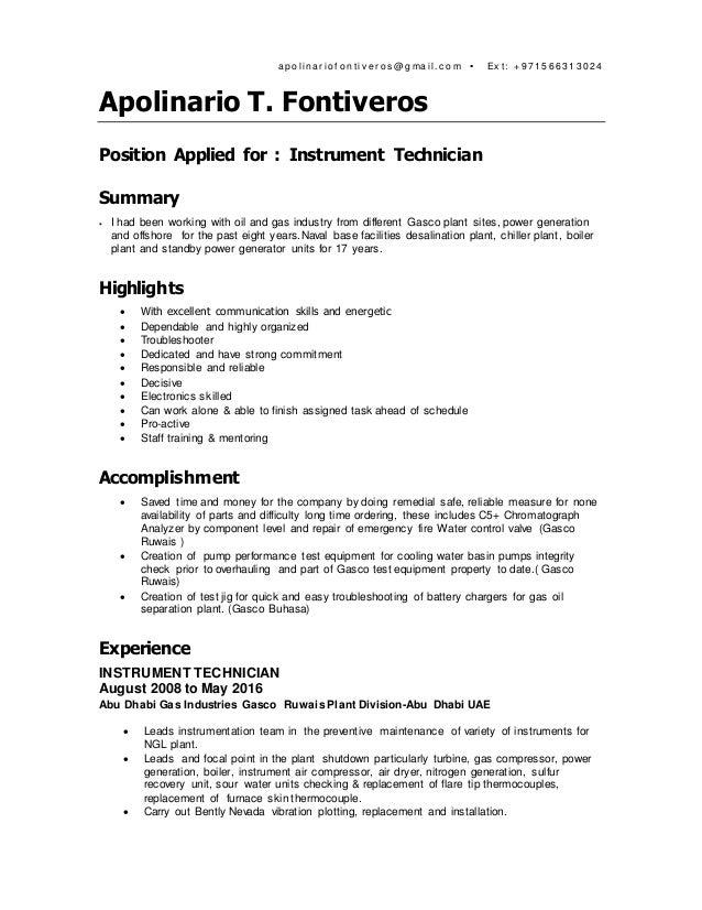 Fontiveros CV 2016 Instrument Technician-