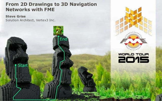 From 2D Drawings to 3D Navigation Networks with FME Steve Grise Solution Architect, Vertex3 Inc. Start End