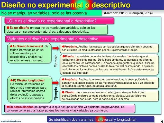 Diseño no experimental o descriptivo 4www.coimbraweb.com Es un diseño en cual no se manipulan variables, solo se las obse...