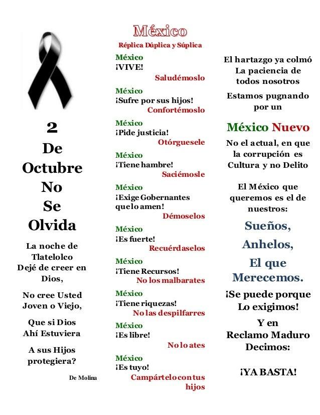 2  De  Octubre  No  Se  Olvida  La noche de  Tlatelolco  Dejé de creer en  Dios,  No cree Usted  Joven o Viejo,  Que si Di...