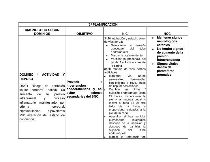 3º PLANIFICACION   DIAGNOSTICO SEGÚN        DOMINIOS                          OBJETIVO                           NIC      ...
