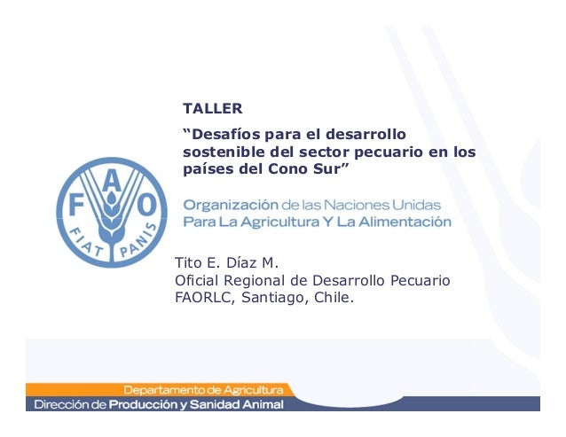 """TALLER """"Desafíos para el desarrollo sostenible del sector pecuario en los países del Cono Sur"""" Tito E. Díaz M. Oficial Reg..."""