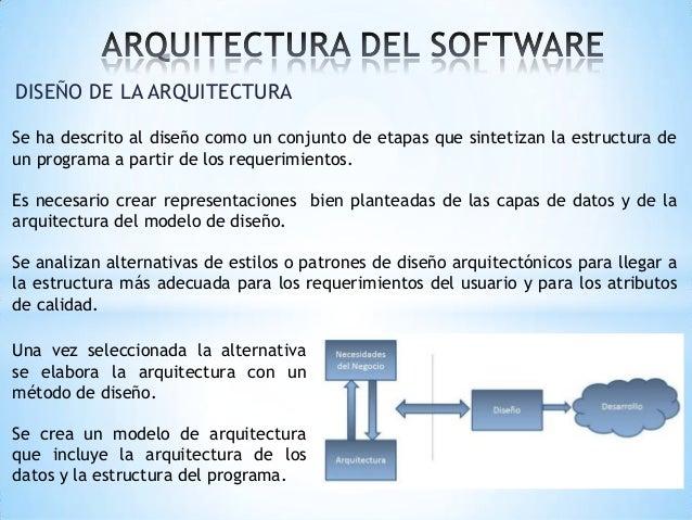 DISEÑO DE LA ARQUITECTURA Se ha descrito al diseño como un conjunto de etapas que sintetizan la estructura de un programa ...