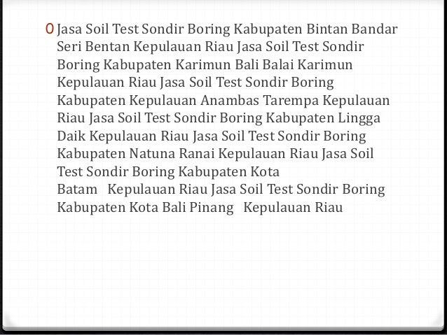 Soil Test Sondir Boring Padang Sumatera Barat