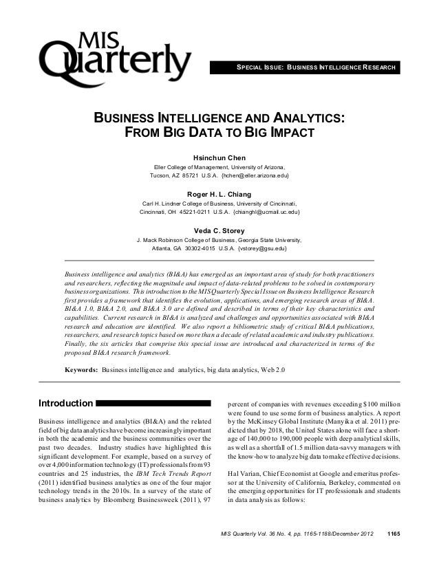 SPECIAL ISSUE: BUSINESS INTELLIGENCE RESEARCH                   BUSINESS INTELLIGENCE AND ANALYTICS:                      ...