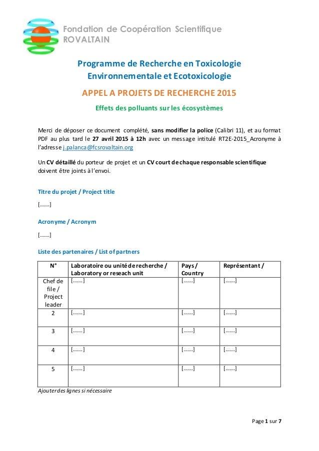 Page 1 sur 7 Fondation de Coopération Scientifique ROVALTAIN Programme de Recherche en Toxicologie Environnementale et Eco...