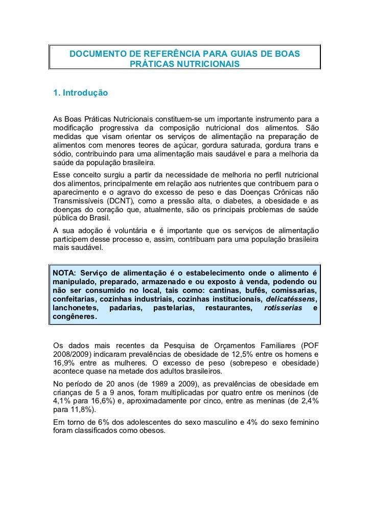 DOCUMENTO DE REFERÊNCIA PARA GUIAS DE BOAS              PRÁTICAS NUTRICIONAIS1. IntroduçãoAs Boas Práticas Nutricionais co...