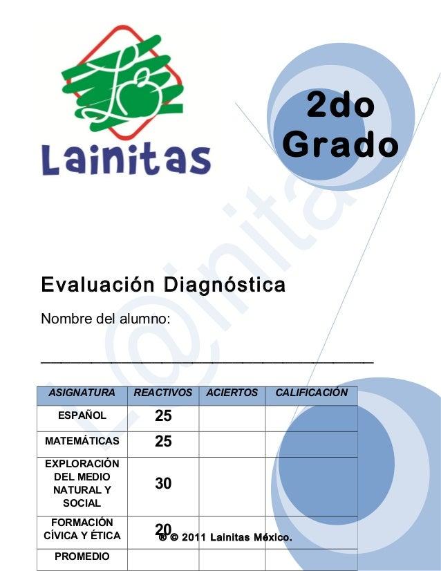 2do Grado  Evaluación Diagnóstica Nombre del alumno:  _________________________________ ASIGNATURA  REACTIVOS  ESPAÑOL  25...