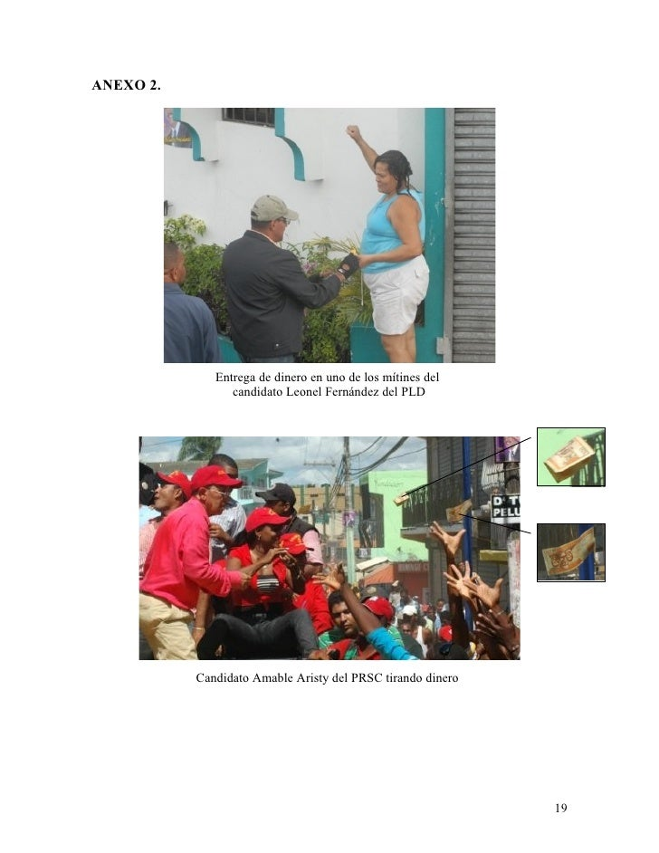 ANEXO 2.                   Entrega de dinero en uno de los mítines del                  candidato Leonel Fernández del PLD...