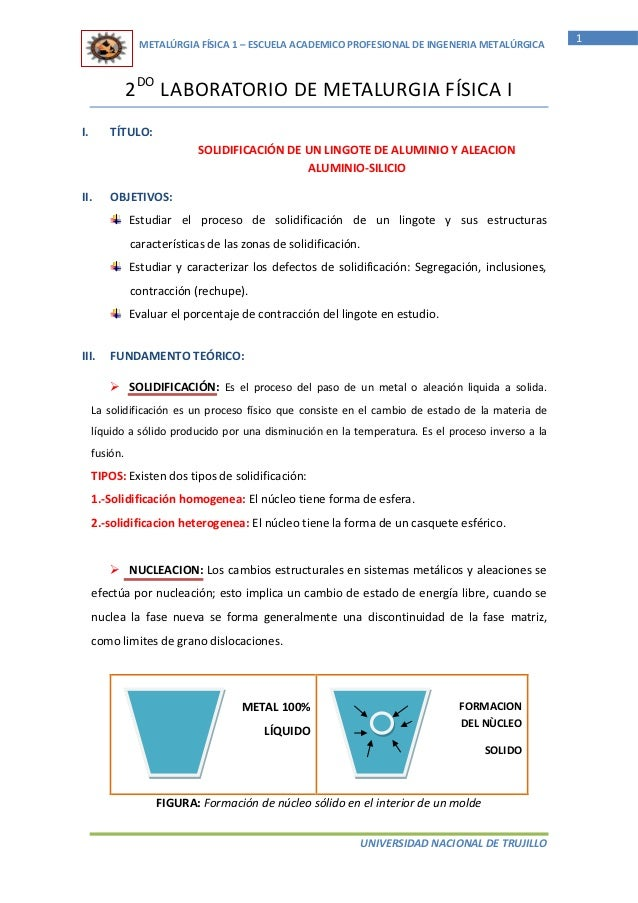 1                METALÚRGIA FÍSICA 1 – ESCUELA ACADEMICO PROFESIONAL DE INGENERIA METALÚRGICA               2DO LABORATORI...