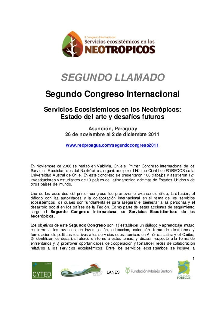 SEGUNDO LLAMADO        Segundo Congreso Internacional       Servicios Ecosistémicos en los Neotrópicos:            Estado ...