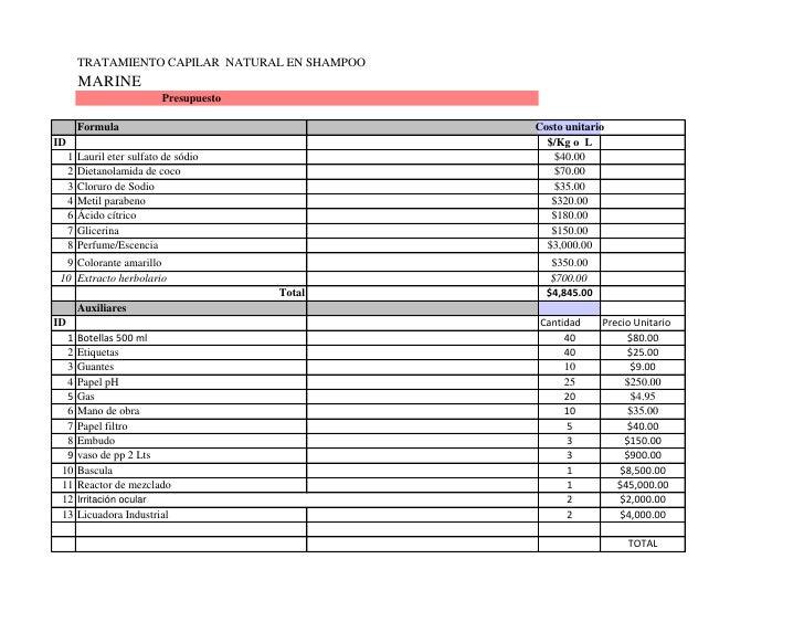 TRATAMIENTO CAPILAR NATURAL EN SHAMPOO          MARINE                              Presupuesto           Formula         ...