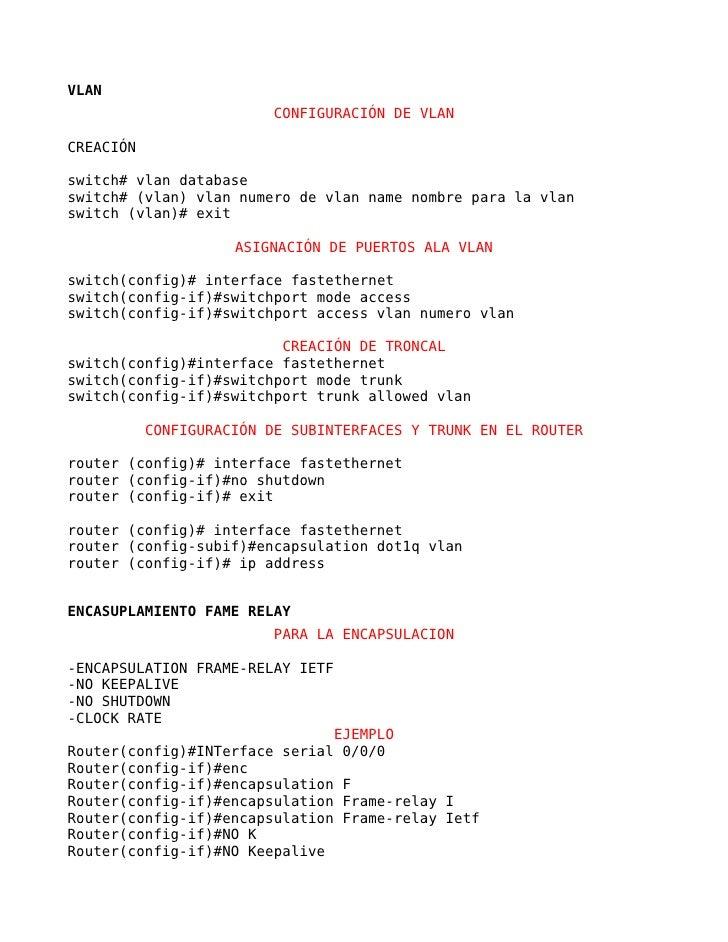 VLAN                         CONFIGURACIÓN DE VLANCREACIÓNswitch# vlan databaseswitch# (vlan) vlan numero de vlan name nom...