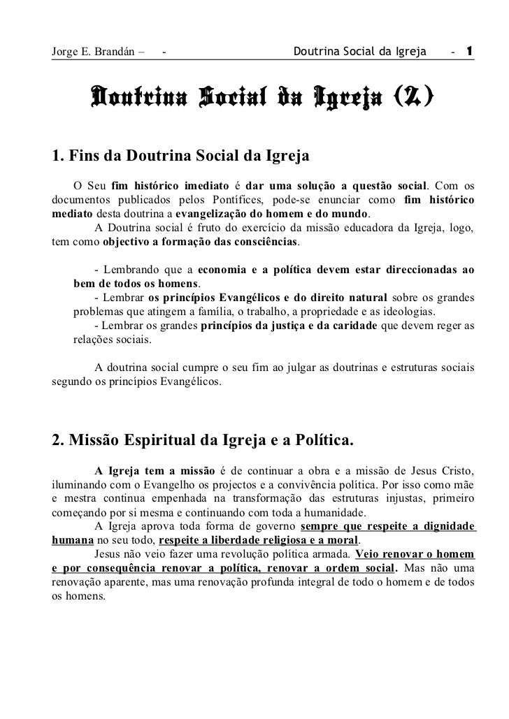 Jorge E. Brandán –    -                          Doutrina Social da Igreja       - 1        Doutrina Social da Igreja (2)1...