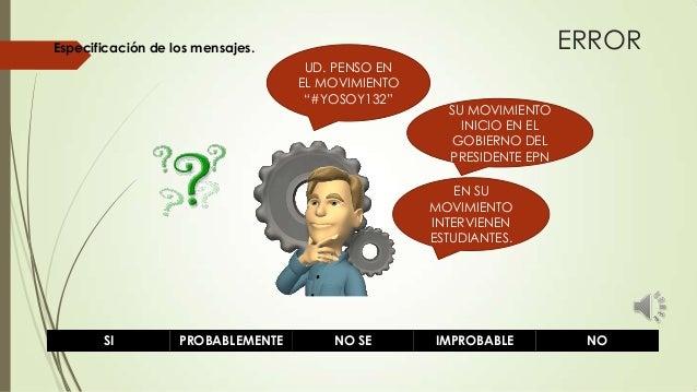 """ERROR  Especificación de los mensajes. UD. PENSO EN EL MOVIMIENTO """"#YOSOY132""""  SU MOVIMIENTO INICIO EN EL GOBIERNO DEL PRE..."""