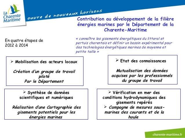 Contribution au développement de la filière énergies marines par le Département de la Charente-Maritime En quatre étapes d...