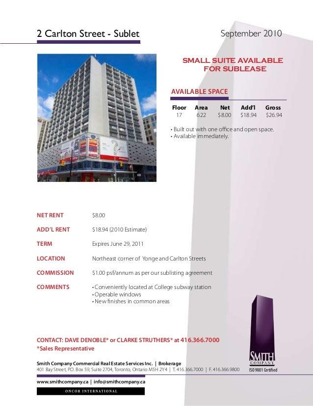 NET RENT $8.00 ADD'L RENT $18.94 (2010 Estimate) TERM Expires June 29, 2011 LOCATION  Northeast corner of Yonge an...