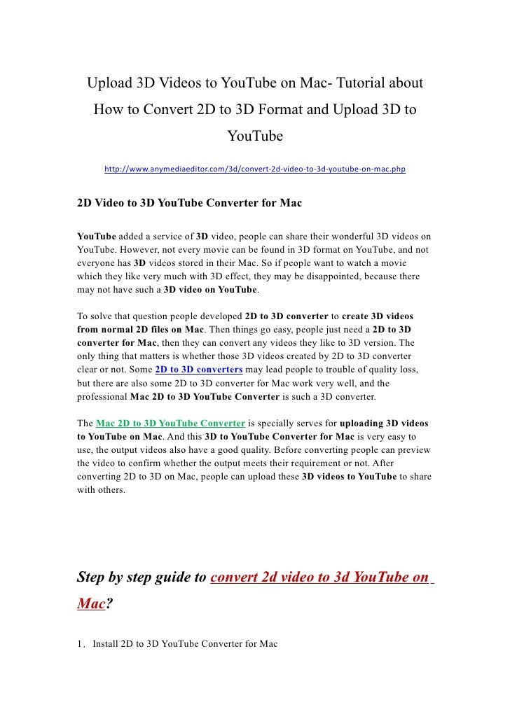 2d To 3d Youtube Mac