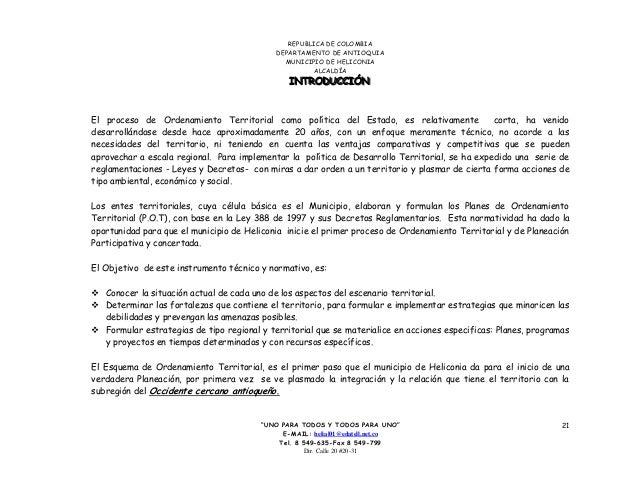 """REPUBLICA DE COLOMBIA DEPARTAMENTO DE ANTIOQUIA MUNICIPIO DE HELICONIA ALCALDÍA """"UNO PARA TODOS Y TODOS PARA UNO"""" E-MAIL: ..."""
