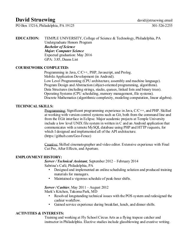 David Struewing Resume
