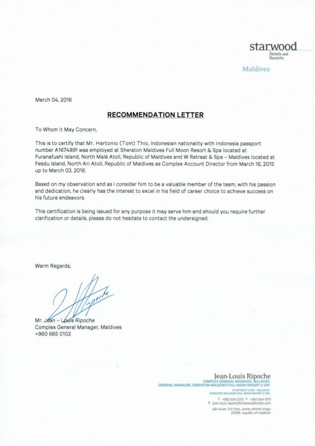 letter of recommendation for general manager canre klonec co
