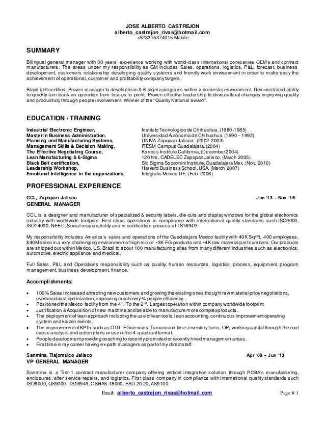 lean manufacturing resumes