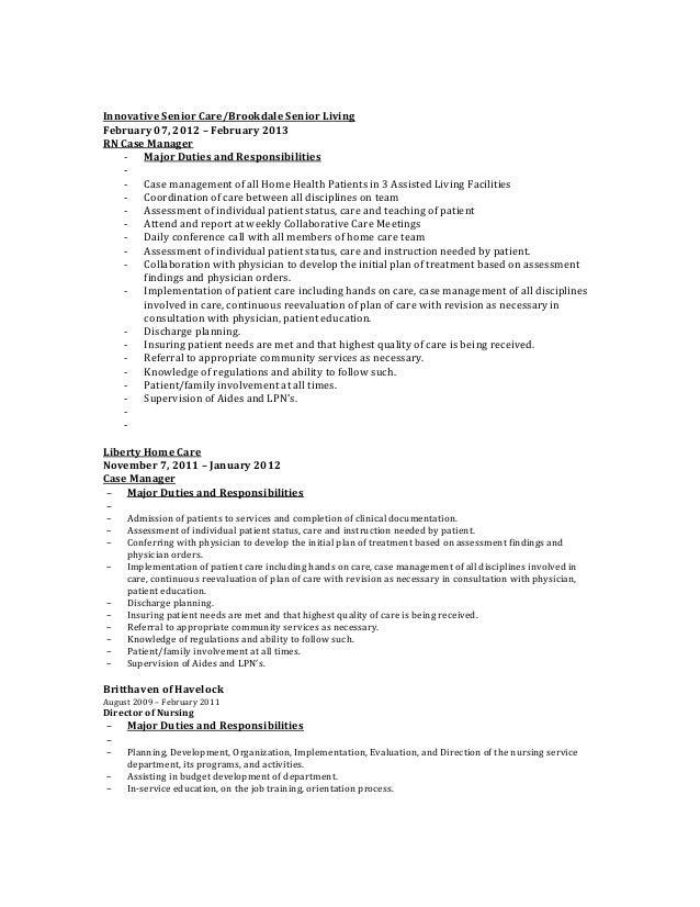 responsibilities of case managers. case management duties. duties ...
