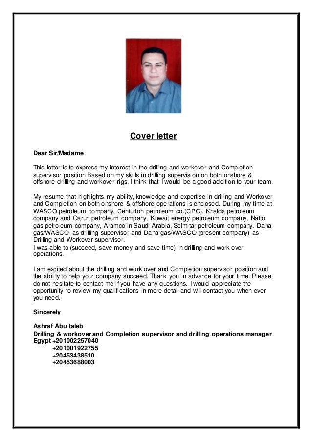 Drilling Engineer Cover Letter. Drilling And Workover And Completion  Supervisor Ashraf Cv .
