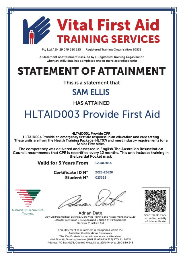 Sam Ellis First Aid Cert