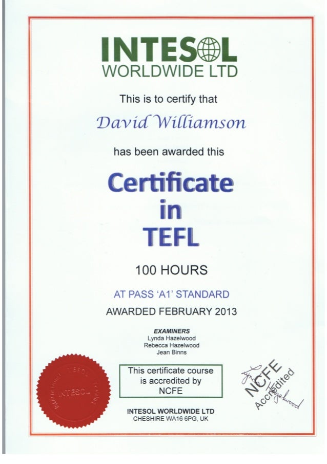 Certificate from INTESOL